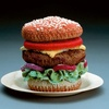 Cleverly knitted Hamburger